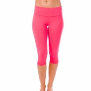 90 Degree By Reflex Pink Athletic Cropped Leggings